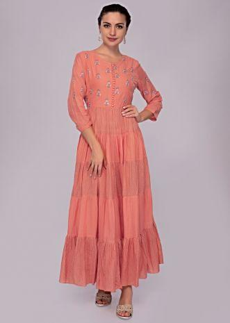 62d8fbb6996 Coral rose cotton tunic dress with resham butti bodice