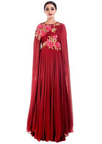 Coral Wine Cape Gown