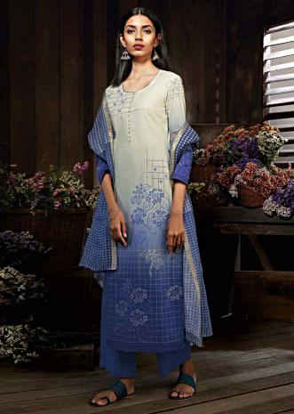 b012dd11e2 Cream and blue unstitched suit in cotton silk with floral and checks print