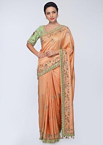 Cream beige cotton silk saree in with embroidered butti and border  in floral and paisley motif