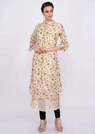 Cream cotton kurti in digital floral print only on Kalki