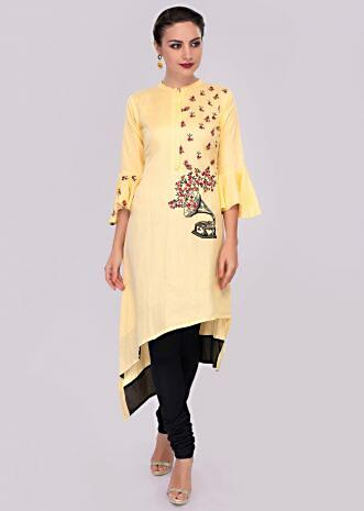 Cream front short back long cotton kurti with one side resham embroidery