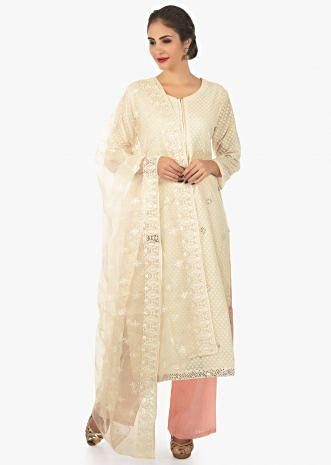 Cream kurti with salt pink pant in jacquar cotton in mirror butti