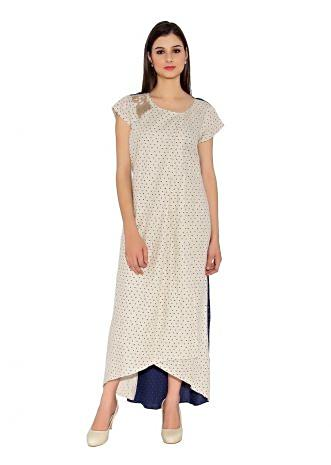 Cream & Midnight Blue Cotton Kurti With Two Tone All Over Printed And Embroidered Motif Of One Shoulder And Asymmetric Hemline Only On Kalki