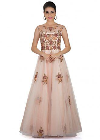 Cream Net Gown with Raw Silk Lining Adorned with Resham and Zardosi Work only on Kalki