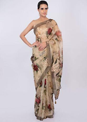 Cream organza floral printed saree with embroidered butti only on kalki