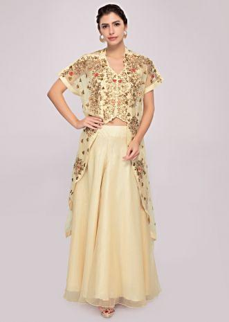 Cream organza palazzo and crop top paired with an embroidered jacket only on Kalki
