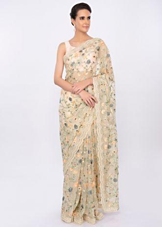 Cream organza saree with floral jaal work only on kalki