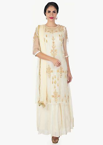 Cream organza silk top with cotton inners and chiffon dupatta only on Kalki