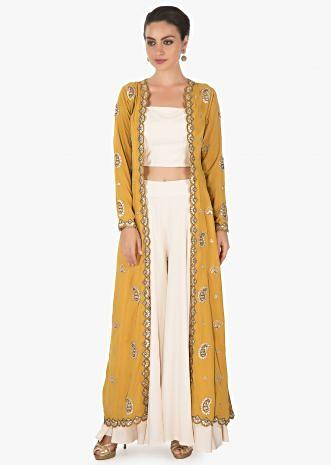 Pastel cream palazzo and crop  top with mustard jacket only on kalki