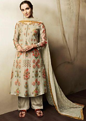 Cream unstitched suit in cotton with floral butti and printed neckline
