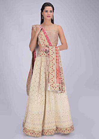 d87808413b Cream white chiffon lehenga set with magenta and red brocade chiffon  dupatta only on Kalki ...