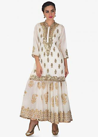 Cream straight sharara suit with kundan and zari embroidery all over only on Kalki