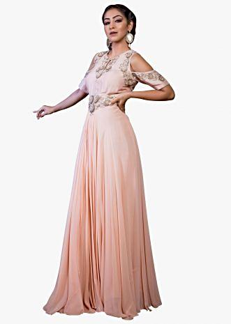 Creamy pink cold shoulder  gown with embroidered armhole, neckline and waist line