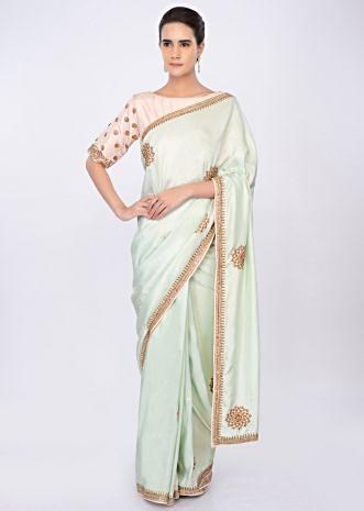 Crepe silk mint green saree with embroidery and butti only on kalki
