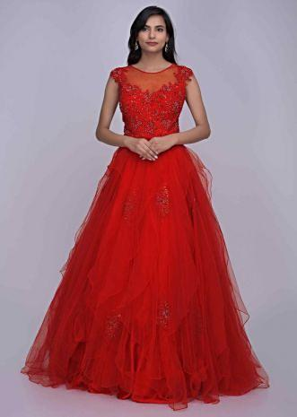0af841d3d972 Crimson red ethnic gown in net and embroidered lace bodice only on Kalki