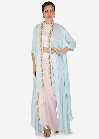 b37761181943 Daisy pink crop top with cowl drape skirt matched with embroidered fancy  jacket only on Kalki ...