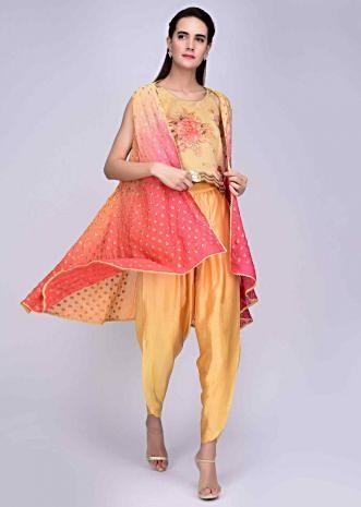 5c3e1e23a84c Dandelion yellow dhoti and crop top with embroidered shaded jacket only on  Kalki