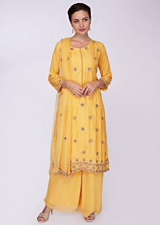 Dandelion yellow suit with matching palazzo and dupatta
