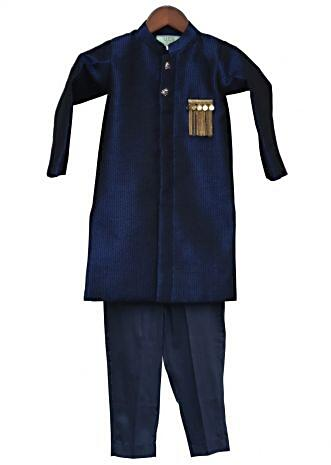 Dark Blue Ajkan with Pant with fancy tassel broach By Fayon Kids