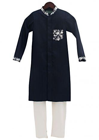 Dark Blue Embroidery Ajkan with churidar by Fayon Kids