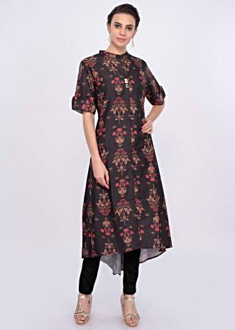 Dark brown silk kurti in digital floral print only on Kalki