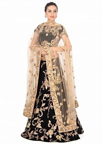 Dark forest green lehenga adorn in floral motif embroidery only on Kalki