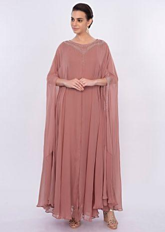 Dark peach long tunic dress with additional fancy kaftan only on Kalki