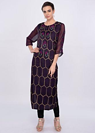 Dark purple silk embroidered  kurti only on Kalki
