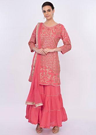 Dark salmon pink gotta patch embroidered sharara suit set only on Kalki