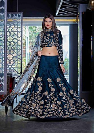 Green lehenga adorn in french knot embroidery only on Kalki