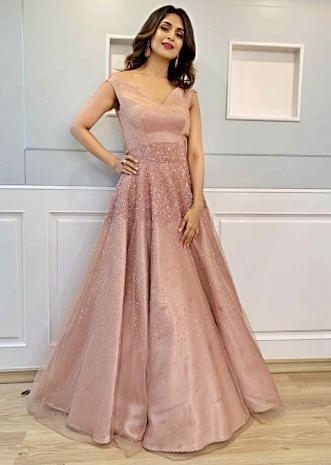 8f5f5fe56315 Divyanka Tripathi in Kalki pink sheer net sequins embroidered gown ...