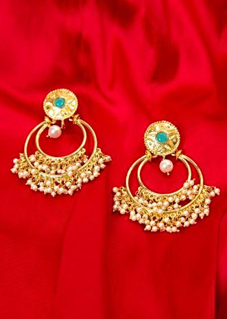 Double hoop traditional earring with nano moti bunch drops