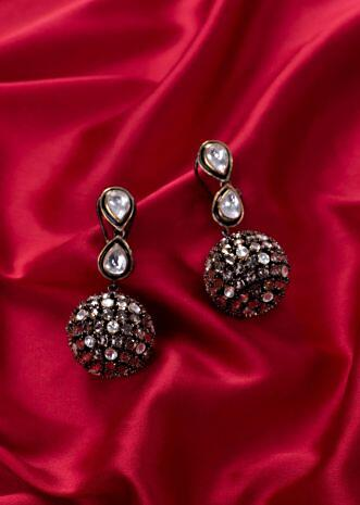 Double kundan layer earring with stone studded drop only on Kalki