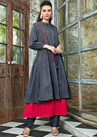 Double layer cotton kurti in shades of red and gre