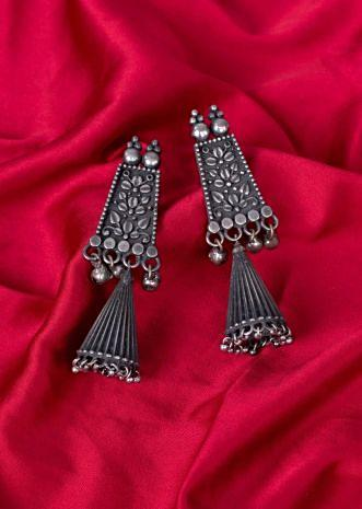 Double layer oxidized dangler earrings only on Kalki