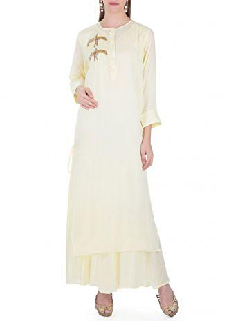 Double Layered Lime Yellow Cotton Top with Sequin Embroidered Bird Motif only on Kalki