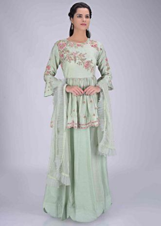 e77926cb13 Dr.'s office green cotton silk gown with net dupatta only on Kalki ...