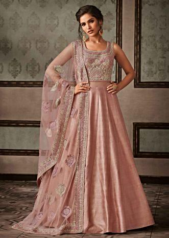 Dull pink anarkali suit featuring in raw silk with code thread embroidery