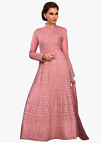Dull pink suit in georgette with resham and kundan embroidery