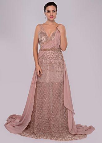 Dusty pink sheer net gown with velvet under layer