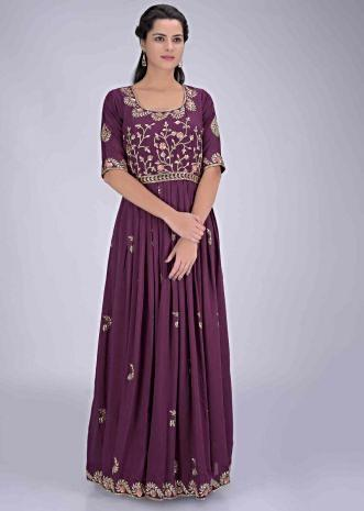 e6339f4284 Eggplant purple cotton gown with floral embroidery work only on Kalki ...