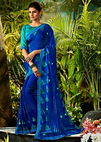 baec632ccd Egyptian blue georgette saree with turq silk blouse piece