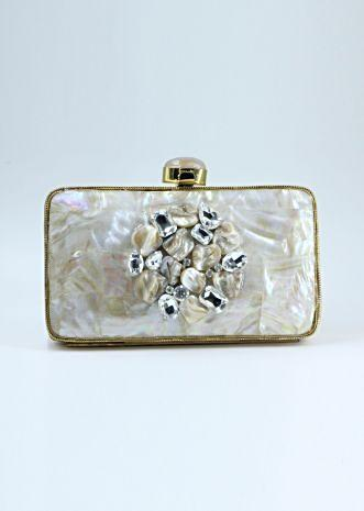 Elegant metallic clutch adorn with mother of pearls, crystal and stones