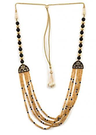 Elegant black and gold beaded necklace only on Kalki