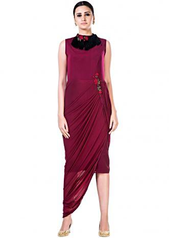 Embroidered Maroon Fringe Neck Drape Gown