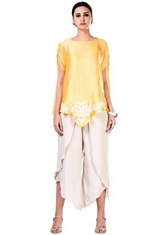 Embroidered Yellow Cape Top with an Off-White Tulip Pant