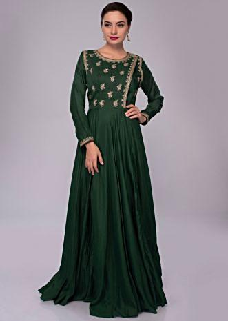 Emerald green anarkali suit with angrakha style embroidered bodice