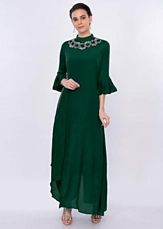 Emerald green asymmetric santoon tunic dress with applique work only on Kalki
