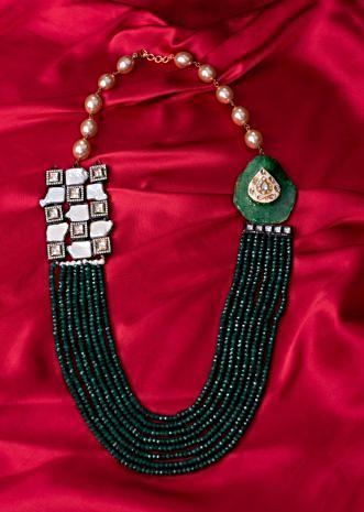 Emerald green multi string necklace with semi precious stones